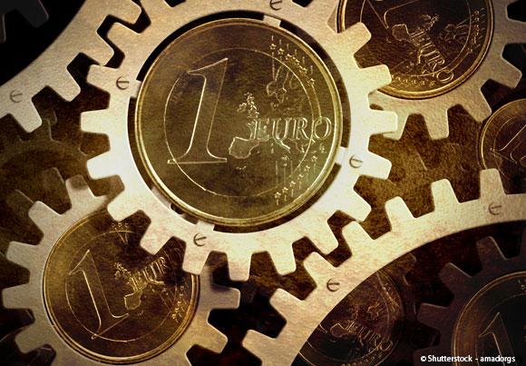 Des pièces d'un euro au centre de rouages
